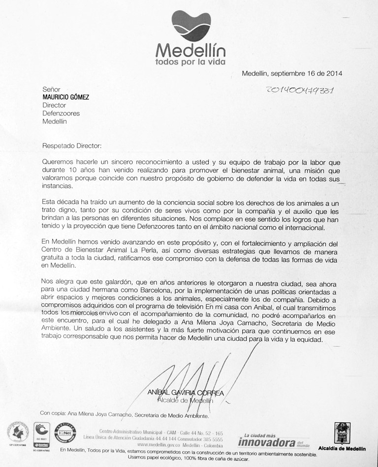 carta alcalde defenzoor del año