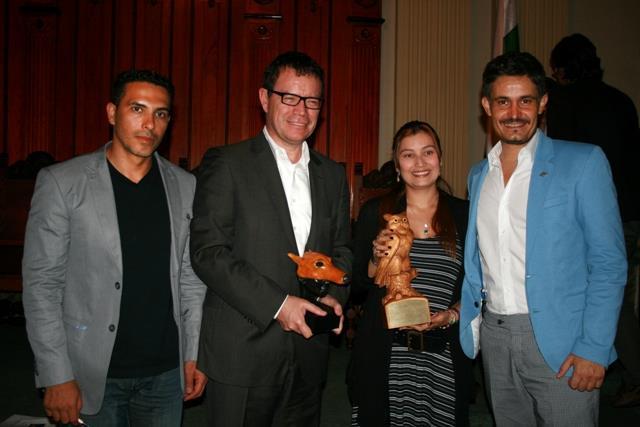 Mauricio Gómez (Director de Defenzoores), Vladimir Flórez (Vladdo), Ana Milena Joya (Secretaria del Medio Ambiente de Medellín) y Leonardo Anselmi (Representante de la Fundación Franz Weber )